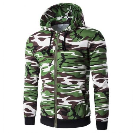 Jaqueta de Chuva Moletom de Ziper e Capuz Verde Comuflada Exercito