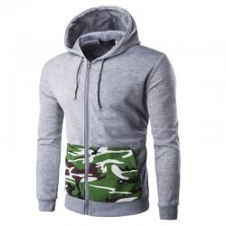 Moletom de Zíper Masculino Exército Casual Moda Inverno com Capuz