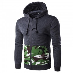 Men's Casual Zipper Hooded Sweatshirt Fashion Winter Hooded Sweatshirt