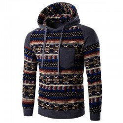Men's Knitted Sweatshirt with Cotton Pattern Hooded Sweatshirt