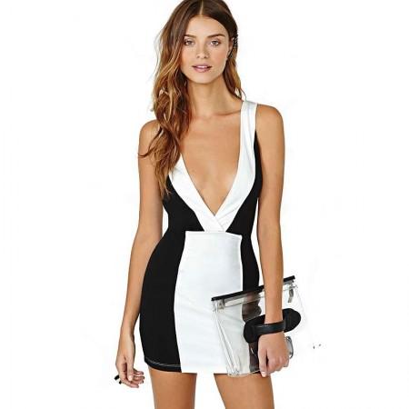 Vestido Bodycon Sexy Curto Femino Preto e Branco de Festa