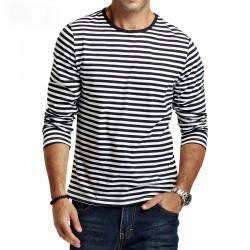 Camiseta Listrada Manga Longa Casual Masculina Fina Moda Inverno