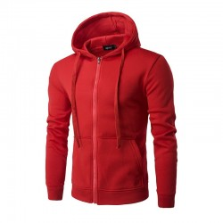 Male sweatshirt with zipper and hood with cord Casual pockets in front