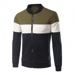 Men's Sportswear Striped Sweater with Zip Jacket