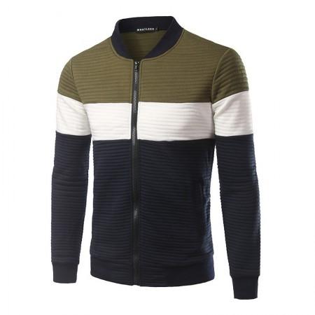 Men's Sportswear Striped Sweater with Zip Jacket