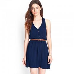 Vestido Feminino Azul Casual Curto com Cinta