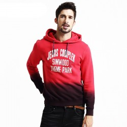 Men's Red and Black Hooded Sweatshirt