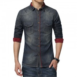 Jaqueta Jeans Masculina Lavada Slim Fit Plus Size Estilo Casual Urbano