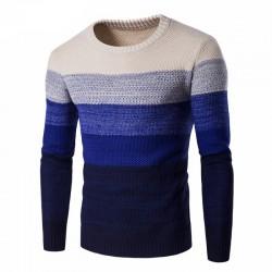 Camisa Masculina Degrade Listrada de Frio Manga Comprida Tricotada