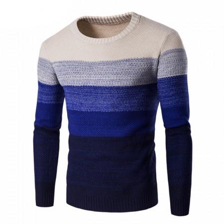 Men's Shirt Gradient Striped Cold Knit Long Sleeve