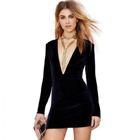 Bodycon Dress Black Short Plunging Neckline