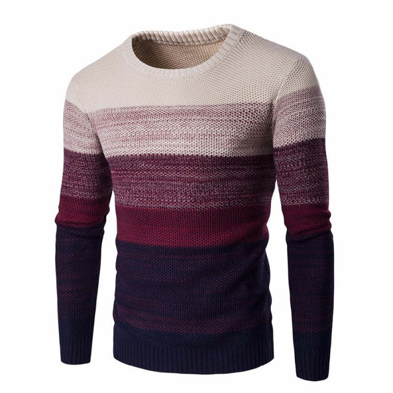 745186c653 Men's Shirt Gradient Striped Cold Knit Long Sleeve