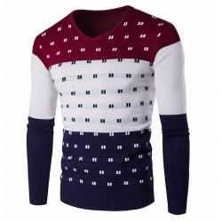 Camisa Geek Suéter Manga Longa Listrada de Inverno Masculino Colorida