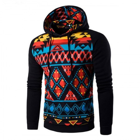 Hooded Male Youth Printed Geometrico Colored Hooded