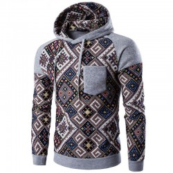 Hooded Acasalho Men's Casual Printed Abstract Vintage Casual
