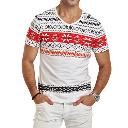 Camiseta V Masculina Branca Malha Fria Casual Moda SWAG em Algodão 85846c0e8ae2a
