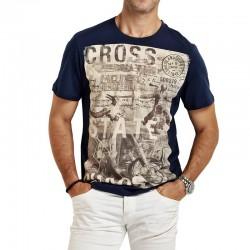 Camiseta Estampada CROSS Masculina Casual Básica Manga Curta