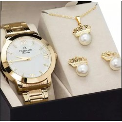 Relógio Feminino Champion Dourado Kit Brincos de Perolas