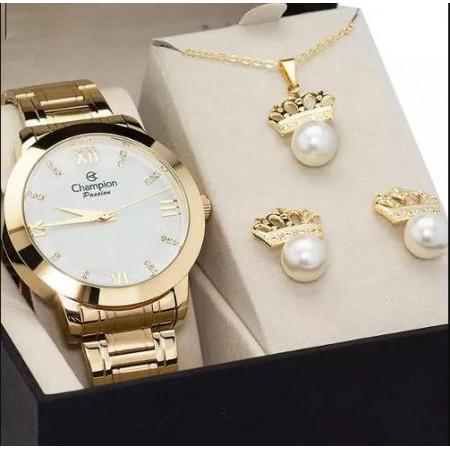 f8829331ff9 Relógio Feminino Champion Dourado Kit Brincos de Perolas