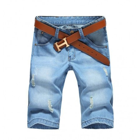 Men's Short Jeans Light Blue Bermuda With Ripped Weaves