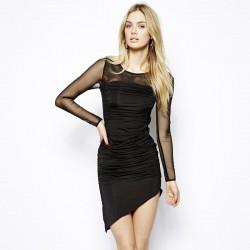 Vestido Assimétrico Curto Preto Manga Longa Feminino