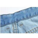 Jeans curtos Masculino Azul Claro Bermuda Com Desgastes Rasgados