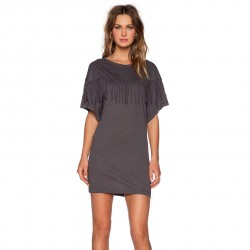 Dress Indian Short Dark Grey Vintage with Tassel