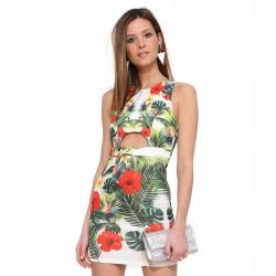 Vestido Floral Tropical Feminino Curto Branco Verão