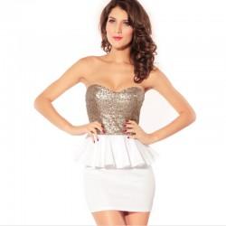Vestido Tomara que Caia Curto Feminino Branco e Preto