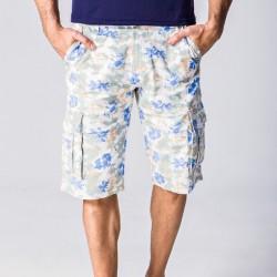 Bermuda Masculina Floral Casual Nova Moda Verão Trabalho com Bolsos
