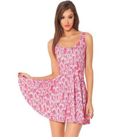 Print dress Pink Women Short Pleated