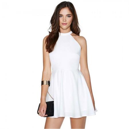 Vestido Branco Elegante Formal Curto Império