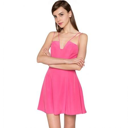 Vestido Rosa Curto Feminino Casual Moda Verão
