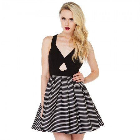 Bow Striped Dress Short Black Slim Fit