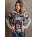 Women's Blouse Long Sleeve Printed For Rock In Rio Gray Musical