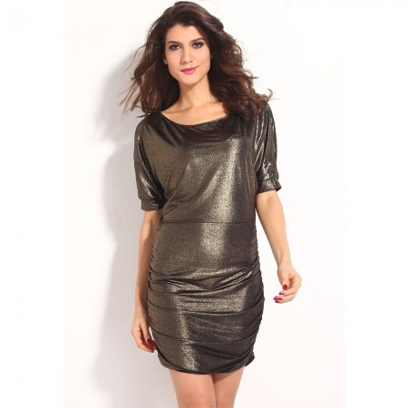 Vestido Metalizado Moderno Feminino Curto Elegante