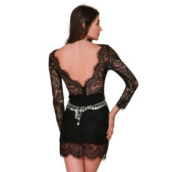 Lace Dress Black Classic Long Sleeve with Strap Awards