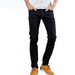 Calças Jeans Masculinas Preta Elástica Slim Moda Casual