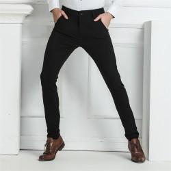 Calça Moderna Masculina Executiva Preta Padrão Elegante