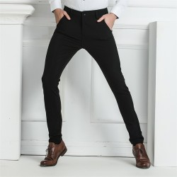 Men's Modern Executive Pants Black Elegant Pattern
