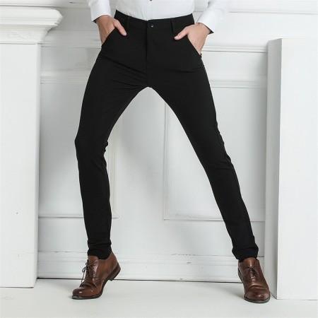 Men's Modern Executive Pants Black Elegant Pattern