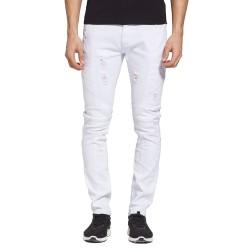 Calça Slim Branca Masculina Rasgada Moda Casual Casual Bonita