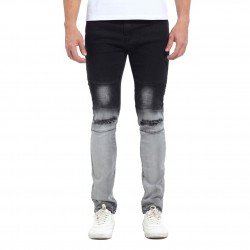 Men's Slim Black Trousers in Degrade Torn Skinny Knee