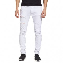 Calça Jeans Masculina Slim Fit Branca Jeans Rasgada Skinny