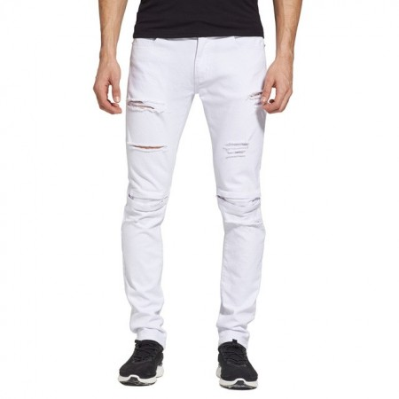 Men's Jeans Slim Fit White Skinny Jeans Torn