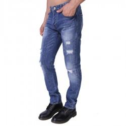 Calça Jeans Masculina Rasgada Casual Azul Slim Moda Urbana