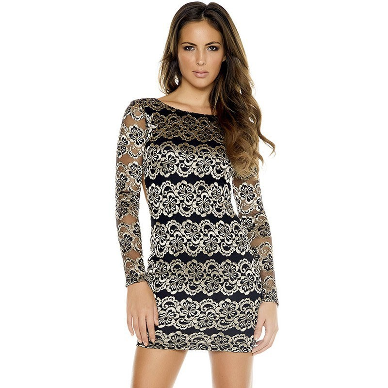 Crochet Dress Short Sleeve Printed Long Silver