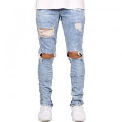 Calça Jeans Slim Masculina Rasgado no Joelho Destruída Cor Lavada