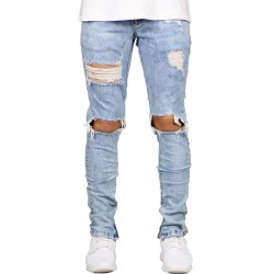Men's Slim Jeans Torn Into The Knee Destroyed Color Washed