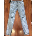 Men's Slim Jeans Torn Into The Knee Destroyed Color Washed